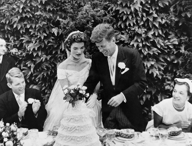 John F. and Jackie Kennedy Cutting Wedding Cake