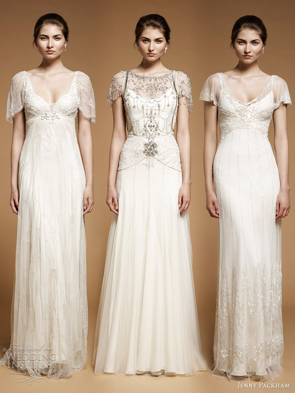 Jenny packham flowy vintage twenties bridal dresses for Vintage 20s wedding dresses