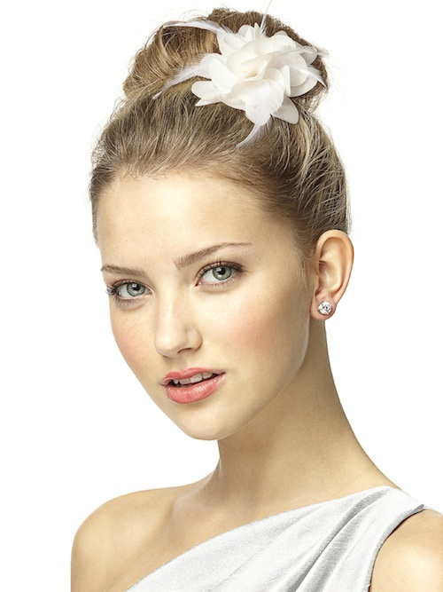 dessy-Nu-Georgette And Feather Flower Bridal Hair Clip