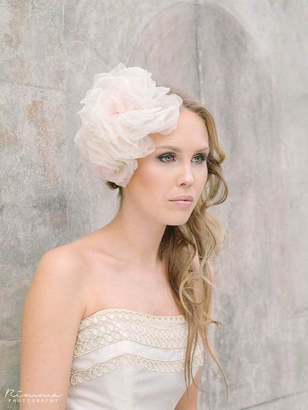 large-pink-chiffon-hair-fascinator-bridal-vintage-inspired