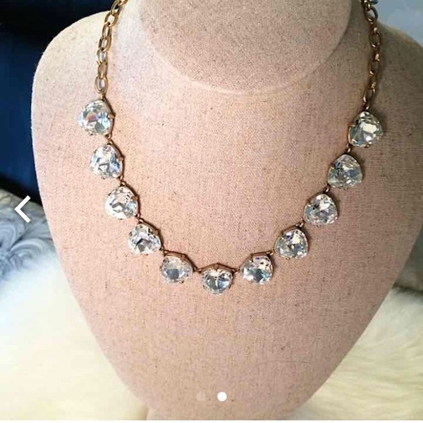 stella-and-dot-SOMERVELL-NECKLACEvintage-bride-art-deco-bride-peach-gold-silver-necklace